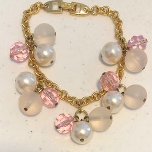 Vintage Napier Pink Pearl & Frosted Beads Gold